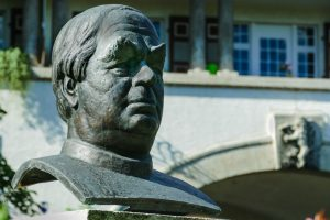 A bust of Sebastian Kneipp outside one of the many Kneipp therapy resorts