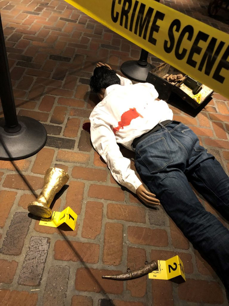 Drop Dead Soiree Props Include a Murder Victim.